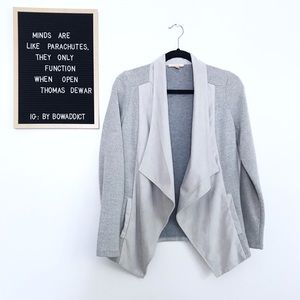[Anthro] Gray Open Front Waterfall Sweater Jacket
